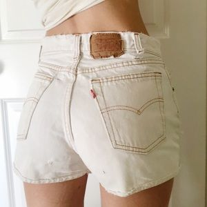 Levi's Authentic High Waist White Denim Shorts
